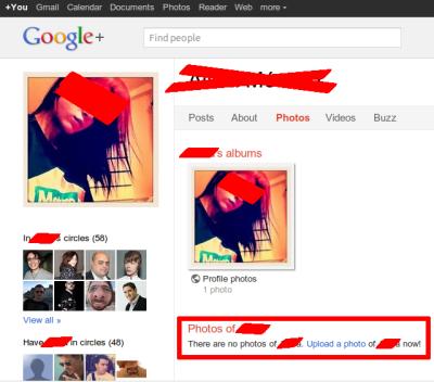Imagen de una usuaria en la red social Google+ donde se anima a publicar fotos de ella