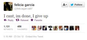 Tweet de Felicia Garcia antes de suicidarse